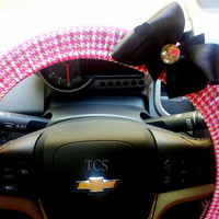 Pink and White Houndstooth Steering Wheel Cover with Bow