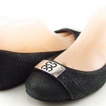 COACH LONDON Black Glitter Snake Womens Designer Shoes Comfort Ballet Flats