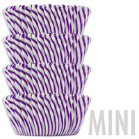 Mini Purple Candy Stripe Baking Cups