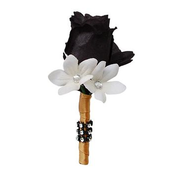 Boutonniere-Black rose bud accents with stephanotis(Artificial flower)