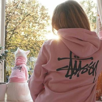 Stussy Fashion Women Men Loose Print Long Sleeve Hoodie Sweater Top Sweatshirt Pink I13865-1