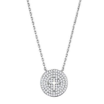 Faith Within - Women's Brass Necklace with AAA Grade Clear CZ Stones