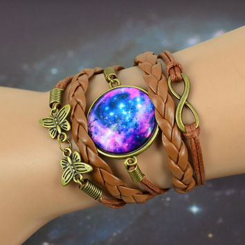 NEW Multilayer Braided Bracelet Bangles Milky Way Galaxy Cabochon Infinity Charms Wristband Cuff Leather Bracelet For Women Men