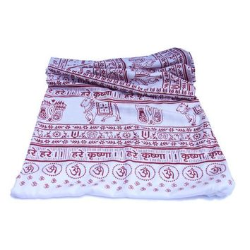 Meditation Yoga Prayer Shawl - Maha Mantra - White Large