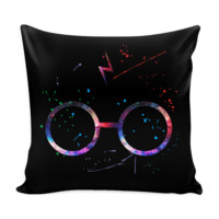 Harry Potter Glasses Watercolor Art Print - Pillow Cover