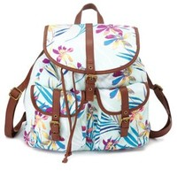 Mint Floral Print Canvas Backpack by Charlotte Russe