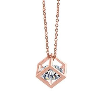 18k Rose Gold Plated Simple Square Necklace Cube Pendant Everyday Jewerly (0.8cm)