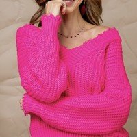 Gorgeous Pink Distressed Sweater