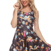 BLACK CARTOON CHARACTERS STRETCH SLEEVELESS A-LINE DRESS