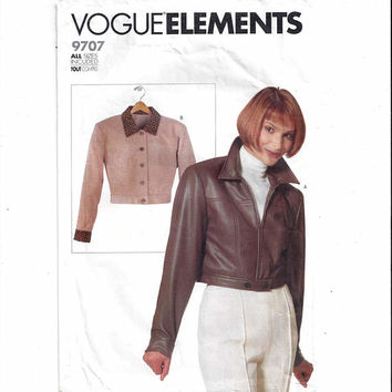 Vogue 9707 Pattern for Misses' Short Jacket, All Sizes, Vogue Elements, UNCUT, From 1997, Easy Pattern, Vintage Pattern, Home Sewing Pattern