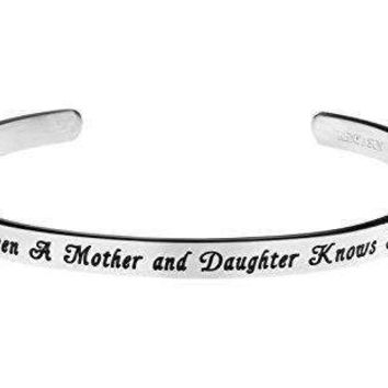"""""""The Love Between A Mother and Daughter Knows No Distance"""" Inspirational Messaged Cuff Bracelet Bangle (White)"""