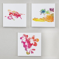 Set of 3 I'd Rather Be In Hawaii Wall Canvases - 12x12 inch Hawaii Wall Art, Hibiscus Flower Print, Sea Turtle Print, Beach House Decor