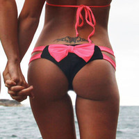 Discount EA14 Sexy Women Bathing Thong Bow Cut-Out Bikini Bottom Swimwear Swimsuit