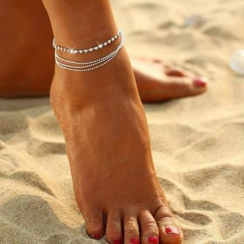 Bohemian Layer Crystal Ball Bracelet Foot Chain Ankle  Jewelry