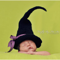 Halloween witch baby hat, perfect newborn photo prop and Halloween costume