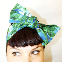 Vintage Inspired Head Scarf Palm Trees Beaches Surf by OhHoneyHush