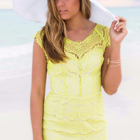 All The Stars And Boulevards Neon Green Lace Romper