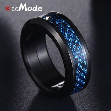 ELSEMODE Titanium Steel 6-14 Size Fashion Rotatable 8mm Black Blue Dragon Carbon Fiber Wedding Rings for Men Women Jewelry