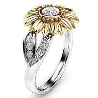 Modyle 2018 New CZ Stone Fashion Jewelry Femme Gold Silver Color Cute Sunflower Crystal Wedding Rings for Women