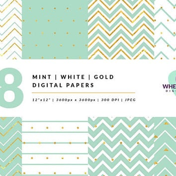 Mint Gold Digital Paper Pack, Patterns, Chevron Digital Paper Gold, Digital Scrapbooking, Digital Scrapbook Kit, Digital Scrapbook Paper