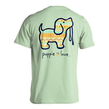 Aztec Pup Short Sleeve Tee in Mint by Puppie Love