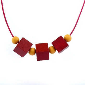 Cube necklace, wood bead necklace, wooden necklace, geometric jewelry, wood necklace, yellow and burgundy, minimal jewelry, boho chic