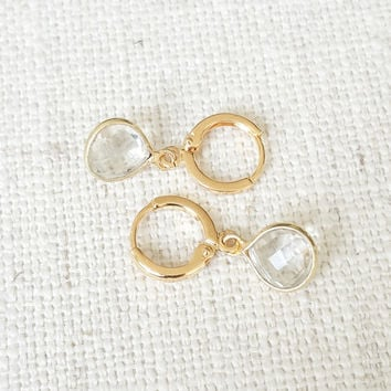 Clear Quartz Earrings, Clear Crystal Quartz Earrings, Crystal Quartz Earrings, Quartz Earrings, Gold Clear Quartz Earrings, Clear Crystal