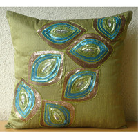 Peacock Abstract - Throw Pillow Covers - 16x16 Inches Silk Pillow Cover with Sequin Embrodiery
