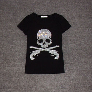 New Women T shirts Fashion T-shirt Woman O-neck Top Short Sleeve Skull Diamond Bling Female Plus Size t shirt 62561 GS