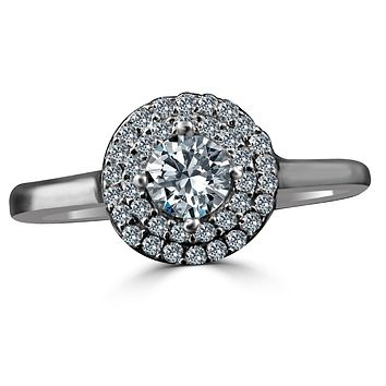0.25 CT. Intensely Radiant Round Diamond Veneer Cubic Zirconia with Double Halo Engagement/Wedding Sterling Silver Ring. 635R3227