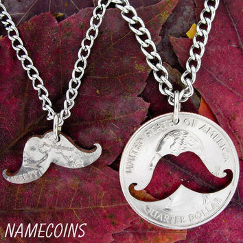 Mustache Inside and Outside Relationship Necklace hand cut coin