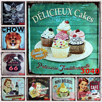 Delicieux Cakes Mini Delices Pause CAfe Route 66 Chow Pet Lovers Retro Tin Art Wall Poster Signs for SOHO Office Home Kitchen Chef Bistro Decor