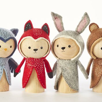 Set of 4 Wooden Animal Dolls - Fox, Owl, Rabbit, Bear