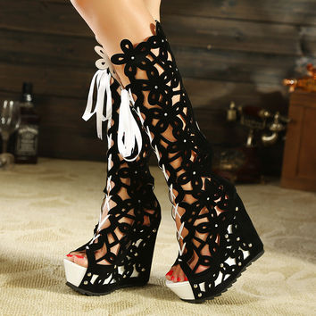 Sexy openwork fish head high boots 3874HY