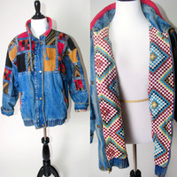 Vintage 80s 1990s Oversize PATCHWORK blue denim and Corduroy long sleeve zip up button down jean jacket Graphic Print lining