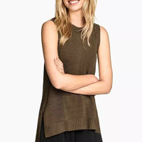 Sleeveless Knitted Asymmetrical Shirt