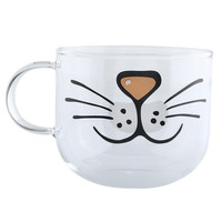 Cute Cat Kitty Glass Coffee Cup Decoration Transparent Water Mug 550ML