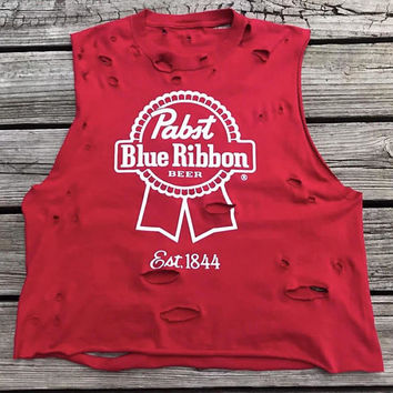 Vintage PABST Blue Ribbon Beer Red 90s Custom Distressed T-Shirt Women's XL