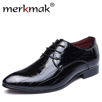 Merkmak 2017 Men Shoes Oxfords PU Leather For Men Wedding Bussiness Formal Party Shoes Chaussure Homme Shoes Big Size 38-48