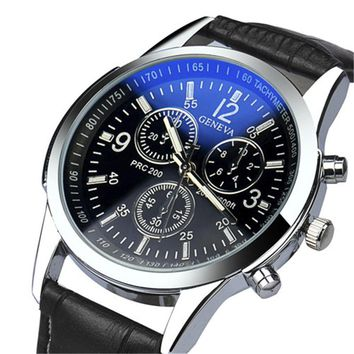Luxury Faux Leather Analog Men's Watch