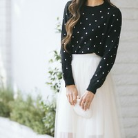 Kendall Polka Dot Crew Neck Sweater