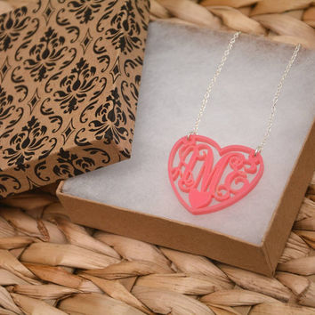 Pink Heart - Monogrammed Necklace with custom ordered Initials (First, Last, Middle Name),ornament crafts, Handmade christmas decorations