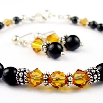 Black Pearl Beaded Bracelets and Earrings SET w/ Simulated  Yellow Topaz Accents in Swarovski Crystal Birthstone Colors