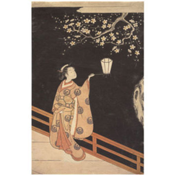 Suzuki Harunobu: Woman Admiring Plum Blossoms at Night Print