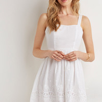 Scalloped Floral Eyelet Dress - Dresses - 2000077880 - Forever 21 EU