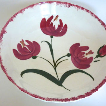 Red Tulip Bowl Blue Ridge China Southern Potteries Big Serving Bowl Centerpiece Red White Green Flower Serving Bowl 10.5 inches