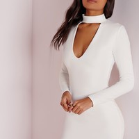 Missguided - crepe choker curve hem cut out bodycon dress white