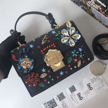DCCK D037 Dolce Gabbana DG Cowhide Lizard Inlaid Diamond Fashion Handbag Black