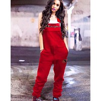 Champion New fashion embroidery letter straps jumpsuit Red