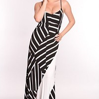 Black White Stripe Maxi Dress